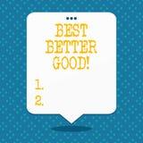 Le texte d'écriture améliorent mieux bon La signification de concept s'améliorent choisissant l'amélioration décisive du meilleur illustration de vecteur