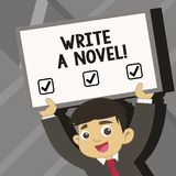 Le texte d'écriture de Word écrivent un roman Le concept d'affaires pour soit créatif écrivant de la fiction de littérature pour  illustration stock
