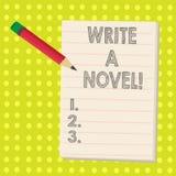 Le texte d'écriture de Word écrivent un roman Le concept d'affaires pour soit créatif écrivant de la fiction de littérature pour  illustration libre de droits
