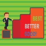 Le texte d'écriture de Word améliorent mieux bon Concept d'affaires pour s'améliorer choisissant la meilleure amélioration décisi illustration stock