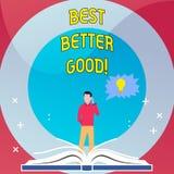 Le texte d'écriture de Word améliorent mieux bon Concept d'affaires pour s'améliorer choisissant la meilleure amélioration décisi illustration libre de droits