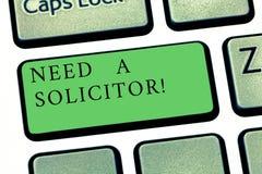 Le texte d'écriture de Word a besoin d'un avocat-conseil Concept d'affaires pour l'avocat qui traite la plupart de sujets juridiq photo stock