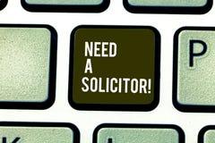 Le texte d'écriture de Word a besoin d'un avocat-conseil Concept d'affaires pour l'avocat qui traite la plupart de sujets juridiq image libre de droits