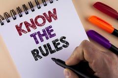 Le texte d'écriture de Word connaissent les règles Le concept d'affaires pour des termes et conditions Understand obtiennent l'av Photographie stock libre de droits