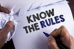 Le texte d'écriture de Word connaissent les règles Le concept d'affaires pour des termes et conditions Understand obtiennent l'av Image stock