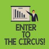 Le texte d'écriture de Word entrent au cirque Concept d'affaires pour Go à l'homme de divertissement de récréation de festival d' illustration de vecteur