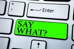 Le texte d'écriture de Word indiquent quelle question Concept d'affaires pour la répétition la chose vous avez dit l'expression d photographie stock libre de droits