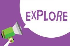 Le texte d'écriture de Word les explorent Le concept d'affaires pour le voyage quelque part inconnu à se renseigner sur lui exami illustration stock