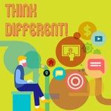 Le texte d'écriture de Word pensent différent Le concept d'affaires pour le changement Rethink sur la vision acquièrent de nouvel illustration stock