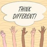 Le texte d'écriture de Word pensent différent Le concept d'affaires pour le changement Rethink sur la vision acquièrent de nouvel illustration de vecteur