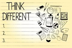 Le texte d'écriture de Word pensent différent Le concept d'affaires pour soit unique avec votre vent de pensées ou d'attitude de  illustration stock