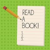Le texte d'écriture a lu un livre La signification de concept apprécient l'activité traditionnelle de littérature pour apprendre  illustration libre de droits