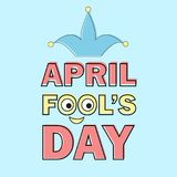 Le texte d'April Fools Day et l'élément drôle dirigent l'illustration pour la carte de voeux Illustration Libre de Droits