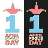 Le texte d'April Fools Day et l'élément drôle dirigent l'illustration pour la carte de voeux Images libres de droits