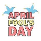 Le texte d'April Fools Day et l'élément drôle dirigent l'illustration pour la carte de voeux Photo libre de droits