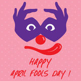 Le texte d'April Fools Day et le joker drôle de visage dirigent l'illustration illustration libre de droits