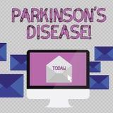 Le texte d'?criture ?crivant Parkinson s est la maladie Désordre de système nerveux de signification de concept qui affecte le mo illustration stock