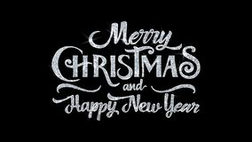 Le texte de bonne année de Joyeux Noël souhaite des salutations de particules, invitation, fond de célébration illustration stock