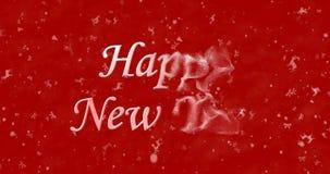 Le texte de bonne année se tourne vers la poussière de la droite sur le fond rouge Image libre de droits