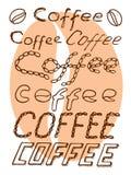 Le texte de café se connecte le fond blanc Images stock
