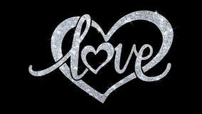 Le texte de clignotement de coeur d'amour souhaite des salutations de particules, invitation, fond de célébration illustration de vecteur
