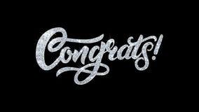 Le texte de clignotement de Congrats souhaite des salutations de particules, invitation, fond de c?l?bration illustration libre de droits