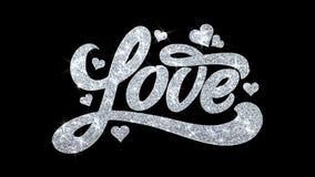 Le texte de clignotement d'amour souhaite des salutations de particules, invitation, fond de c?l?bration illustration de vecteur