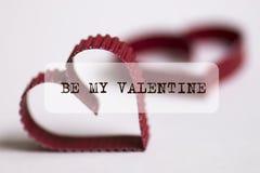 Le texte de forme de coeur soit ma valentine Image libre de droits