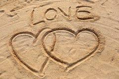 Le texte de forme et d'amour de coeur dessiné Photo libre de droits