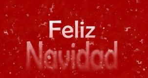 Le texte de Joyeux Noël dans l'Espagnol Feliz Navidad tourne pour épousseter le franc Image libre de droits