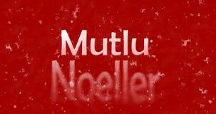Le texte de Joyeux Noël dans le turc Mutlu Noeller tourne pour épousseter le franc Image libre de droits