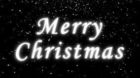 Le texte de Joyeux Noël et les chutes de neige lumineux, 3d rendent le fond, ordinateur se produisant pour la conception de fête  illustration de vecteur