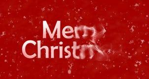 Le texte de Noël heureux dans le Chinois se tourne vers la poussière de la droite sur le rouge Photos libres de droits