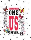 Le texte de slogan avec des roses et le papillon dirigent l'art Photo stock