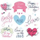 Le texte de Valentine Day a placé dans des couleurs roses et bleues romantiques Photographie stock libre de droits
