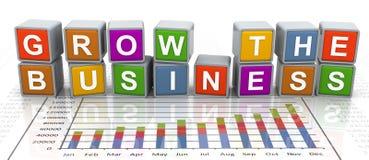 le texte du mot à la mode 3d «élèvent les affaires» Photo stock