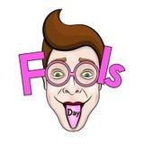 Le texte et les verres drôles ENV 10 d'April Fools Day dirigent l'illustration Photos libres de droits