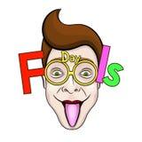 Le texte et les verres drôles ENV 10 d'April Fools Day dirigent l'illustration Photographie stock libre de droits