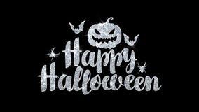 Le texte heureux de clignotement de Halloween souhaite des salutations de particules, invitation, fond de célébration illustration stock