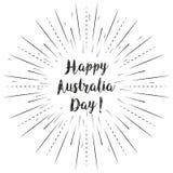Le texte heureux de jour d'Australie avec le soleil rayonne le fond linéaire r illustration stock