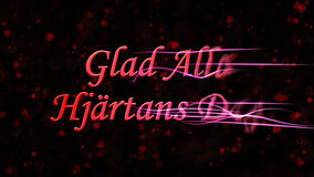 Le texte heureux de Saint-Valentin dans le Suédois Glad Alla Hjartans Dag se tourne vers la poussière de la droite sur le fond fo Images stock