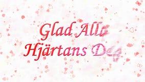 Le texte heureux de Saint-Valentin dans le Suédois Glad Alla Hjartans Dag se tourne vers la poussière de la droite sur le fond cl Images libres de droits