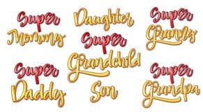 Le texte superbe de famille a placé la calligraphie comique de style illustration stock