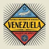 Le texte Venezuela d'emblème de timbre ou de vintage, découvrent le monde Images stock