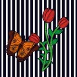 Le textile exotique d'impression de mode de fleur de composition florale en broderie barre le fond Photo libre de droits