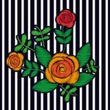 Le textile exotique d'impression de mode de fleur de composition florale en broderie barre le fond Photographie stock libre de droits