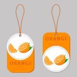 Le thème de l'orange de fruit, marché de label Image stock