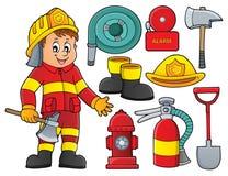 Le thème de sapeur-pompier a placé 2 illustration libre de droits