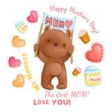 Le thème mignon de fête des mères d'ours avec des détails aiment des coeurs, ensemble de clipart de miel Images stock