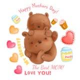 Le thème mignon de fête des mères d'ours avec des détails aiment des coeurs, ensemble de clipart de miel Photo libre de droits